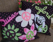 Peace Sign Pillows - 16 x 16 Personalized Throw Accent Pillows, Custom Made to Match any Decor, You Choose the Colors - Set of Two Square