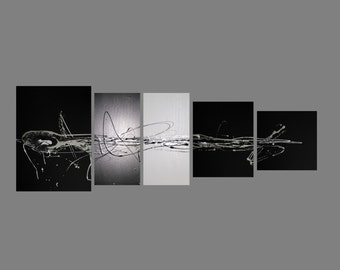 5 ABSTRACT CANVAS PAINTING silver BLACK WHITE 190cm