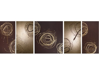 5 BSTRACT CANVAS PAINTING brown gold