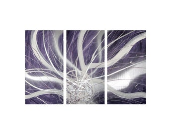 3 ABSTRACT CANVAS PAINTING purple silver