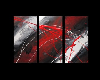 3 abstract canvas painting red black white