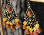 Chandelier Tulip Earring - Yellow and Brown Earrings - Vintage Bead Earrings - Brown and Yellow Chandeliers - R55