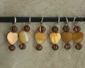 Knitting Stitch Markers - 6 Heart Shaped-Markers In Mother of Pearl with Vintage Beads - Black Friday Sale