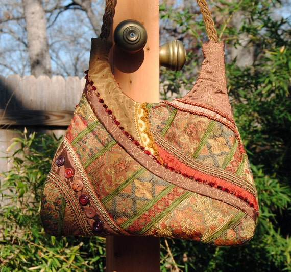 Bohemian Pieced Tapestry Bag with Vintage Buttons - Sling Bag in Warm Russets, Pumpkin, Gold and Green