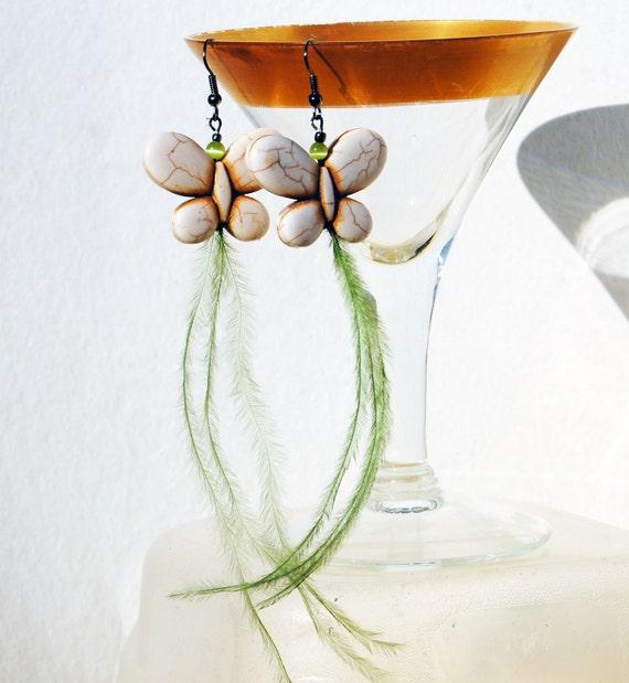 Butterfly Feather Earrings - Howlite  Butterfly in Cream Green Feathers