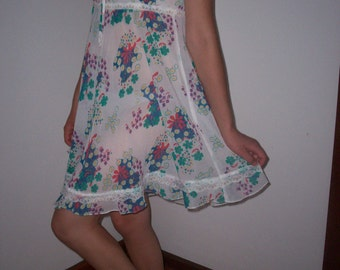 Vintage Handmade Frilly Floral Light Sheer Summer Dress 70s