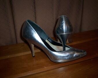 Vintage Wedding Silver Leather Jane West Stiletto Shoes