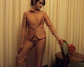 Vintage Women's Orange Pant Suit