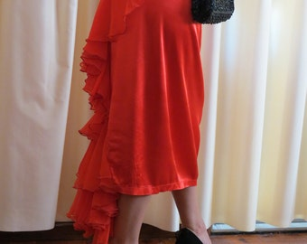 Vintage Made in Australia 1980s Red Sexy Smouldering  Skirt Sydney