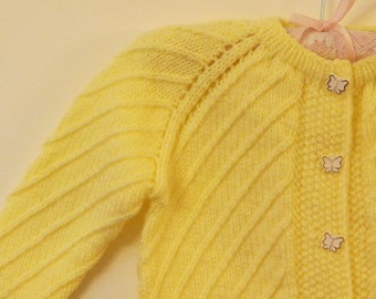 Handmade Knitted Baby Cardigan in a Diagonal Pattern