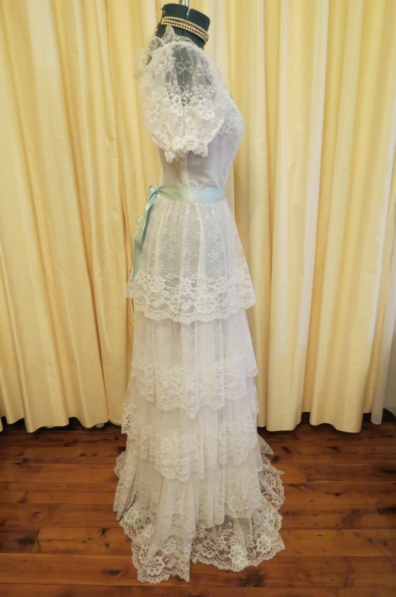 RESERVED FOR ANNA Vintage Lace Bell Bottomed Layered Late 60s Early 70s Wedding Dress