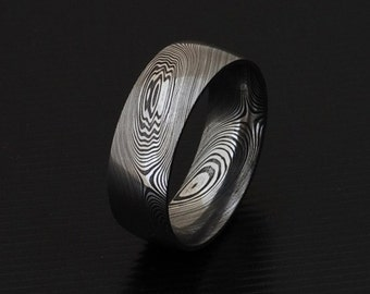 Genuine stainless Damascus Steel Mens Ring PD10