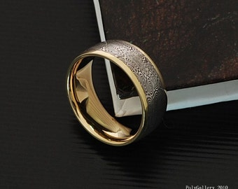 Genuine stainless Damascus Steel and 18K Yellow Gold Mens Ring PD20