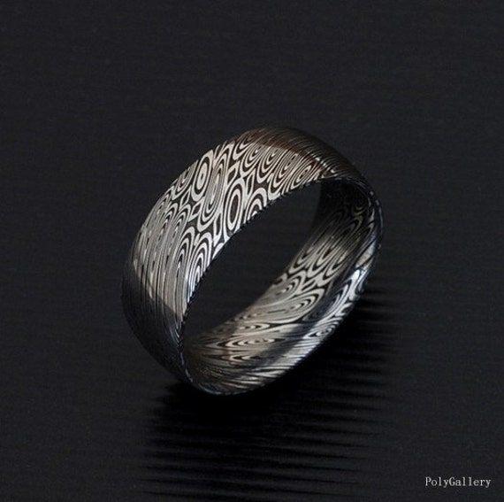 genuine stainless damascus steel mens ring pd18