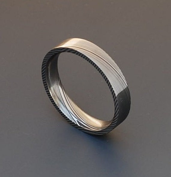 Non Metal Wedding Bands >> Genuine stainless Damascus Steel Ring PD25