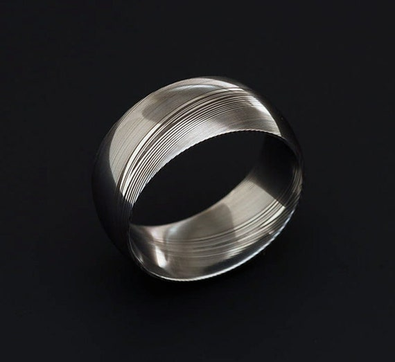 Genuine Stainless Damascus Steel Mens Ring Width 10 Mm Pd39