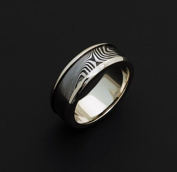 Genuine stainless Damascus Steel and White Gold Mens Ring PD40