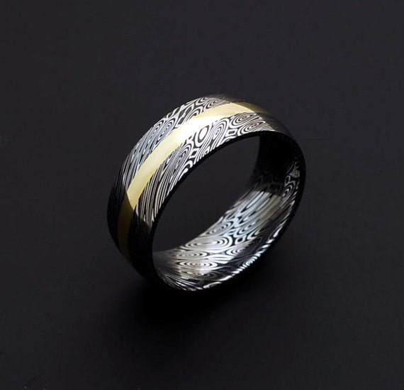 Genuine Stainless Damascus Steel And 18k Yellow Gold Mens Ring
