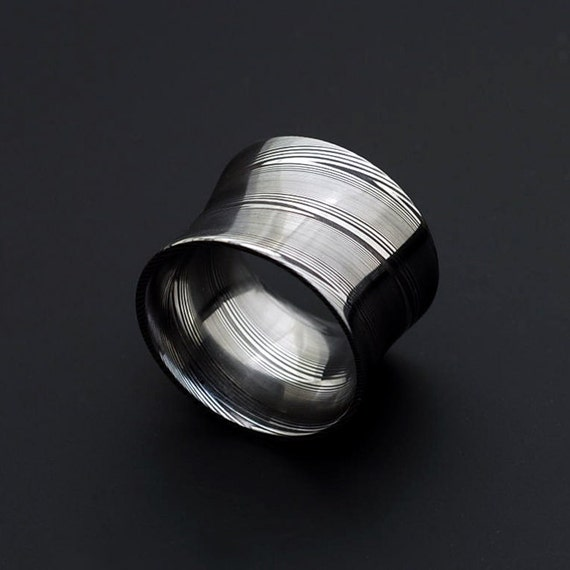 Genuine Stainless Damascus Steel Mens Concave Ring Width