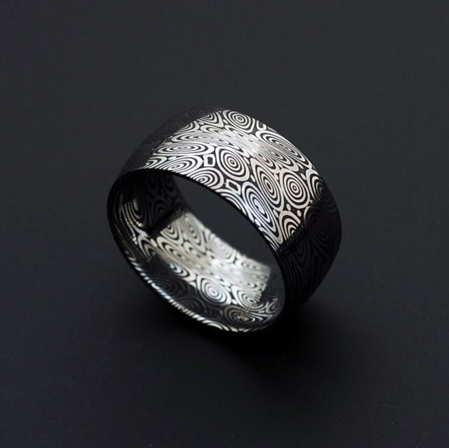Genuine stainless Damascus Steel Mens Ring Width by ...