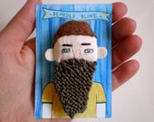 bearded bloke brooch - a hand stitched personality