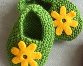 Sale - baby gift set - hand knitted cotton booties newborn/ preemie sage green with yellow felt flowers, card and gift bag