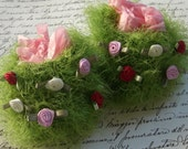 Baby gift set - fluffy grass green and roses booties with matching gift bag