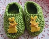 Fabulous five-dollar sale Rabbit sage/ bright green hand knit baby booties with cute yellow rabits - sample sale 3-6 months only