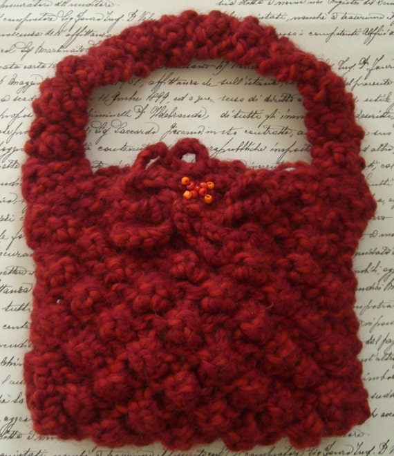 Fabulous five-dollar sale: Cranberry Rowan Big Wool - chunky hand knitted dark red little bag