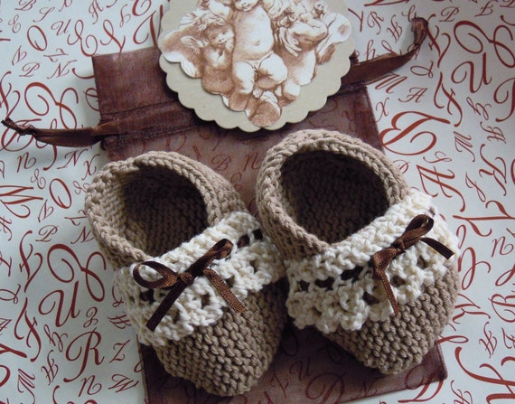 Gorgeous cafe au lait/ brown lace knitted baby booties with matching gift bag and cherub gift tag