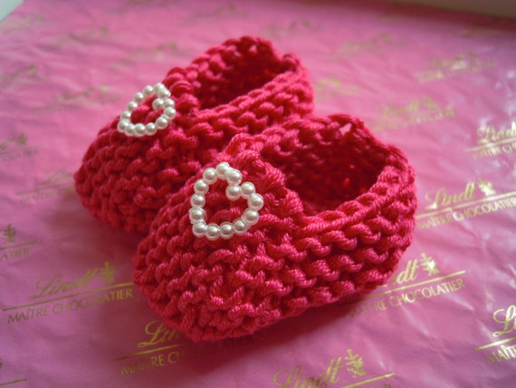 Baby shower decorations: little hand knit dark rose pink mini booties with pearlised heart - 2 inches - sample