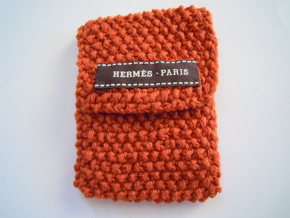 Cute terracotta tea bag cozy/ holder with original dark brown Hermes Paris ribbon trim