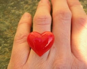 RED HEART Ring - red glass heart ring, red heart glass ring - Valentine's Ring