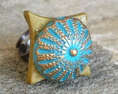 Oriental Handpainted Polymer Clay Art Ring - SHAHRZAD 3
