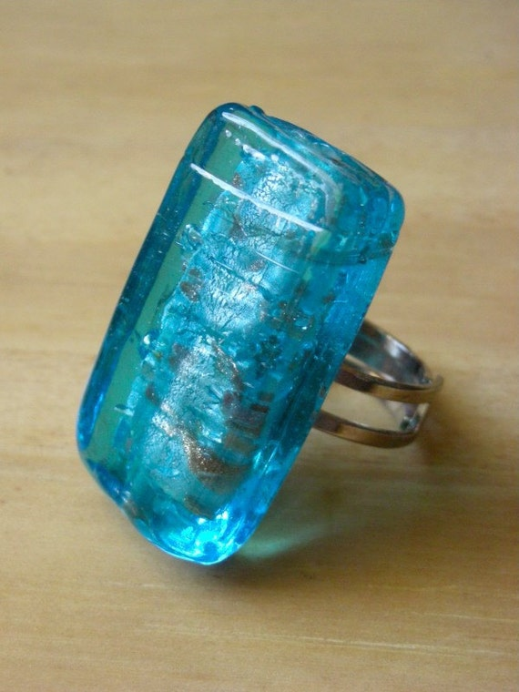Sky Blue Glass Ring - blue glass with silver leaf inlay - SPRING SKY