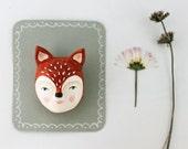 "AUTUMN SALE Fox face brooch - Woodland creature pin - ""Miss fox"""