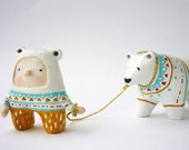 Animal totem and boy - Paper clay miniatures
