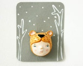 FREE SHIPPING  Brown bear girl brooch -  Paper clay animal wearable art