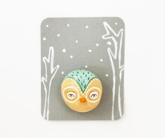 Owl brooch - Forest creature pin - Bird face wearable art - Stocking stuffer - Under 20 dollars
