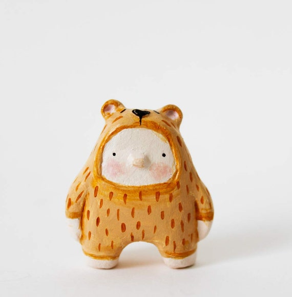 Brown bear boy - Paper clay miniature - Woodland art toy