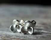 Sterling Silver Earrings Tiny Flowers