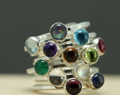 Birthstone Stacking Rings in Sterling Silver, Mothers Day Rings