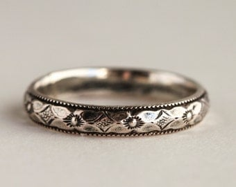Romantic Wedding Ring, Sterling Silver Band, wedding jewelry
