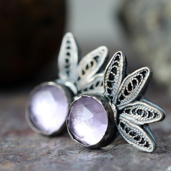 READY TO SHIP - Sterling Silver and Pink Amethyst Earrings