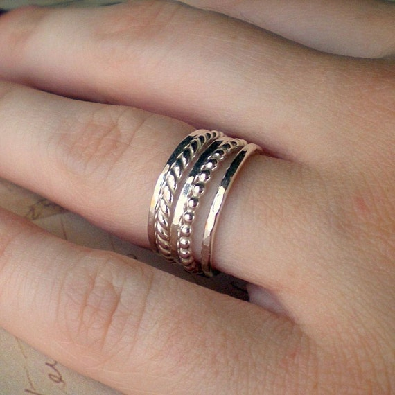 Silver Stacking Ring Set Sterling set of five