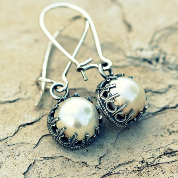 Sterling Silver Earrings with Mabe Pearls
