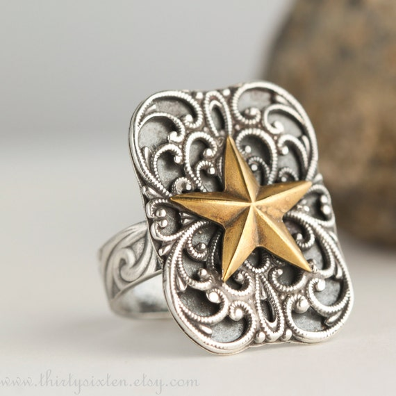 Sterling Silver  Ring with Star and Filigree