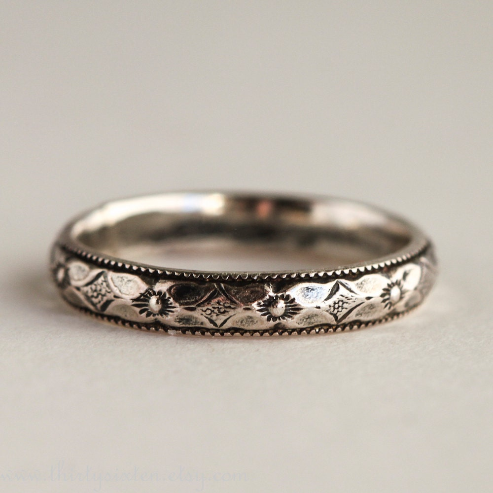 Romantic Bands: Romantic Wedding Ring Sterling Silver Band Wedding Jewelry