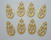 Raw Brass Victorian Filigree Earrings Findings Drops  - 8