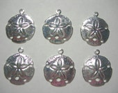 Silver Plated Sand Dollar Charms Earring Findings Drops - 6